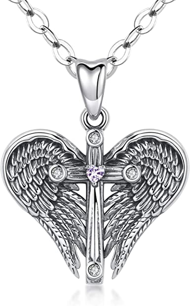 Dainty Angels in Love Pendant 10k Solid Gold CZ Heart Angels Pendant Necklace Religious Jewelry Gifts for Her