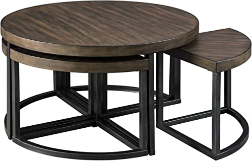 Signature Design by Ashley – Johurst Round Wooden Coffee Table w 4 Stools, Brown Black