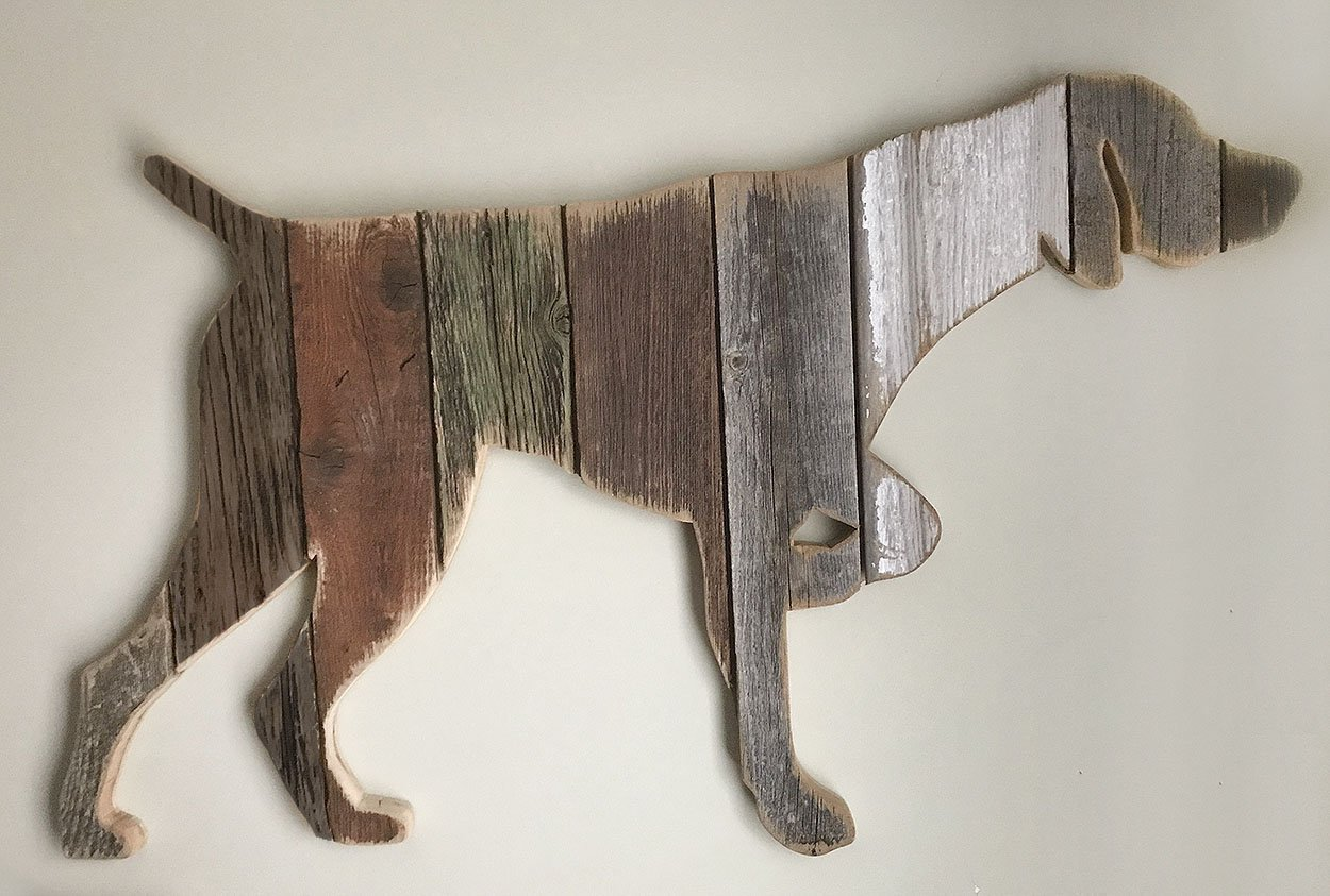 German Shorthaired Pointer pose4 silhouette made with reclaimed wood (sold-order yours now)