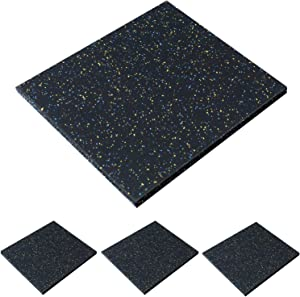 """Lehom Eco-Sport Interlocking Tile 4 Pack Gym Rubber Flooring Mat 20"""" x 20"""" x 1"""" Heavy Duty Anti-Vibration Exercise Mats for Gym Equipment and Cushion for Workouts, Cover 11.12 Sq.Ft"""