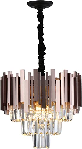 A AXILIXI 16″Wx15″H 3-Tiers Crystal Chandelier