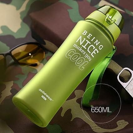 Esmerilado taza de agua con tapa Botellas portátiles de Handy botellas de agua de plástico Copa