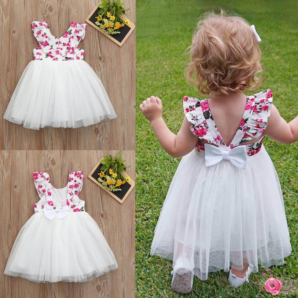 Vestido para niñas de 6 meses a 5 años de edad, ❤Familizo bonito para niños y niñas sin mangas, sin mangas, sin mangas, sin espalda, vestido tutú, ...