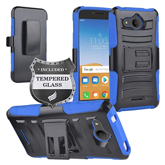 Eaglecell - Alcatel Tetra /5041C - Hybrid Armor Case w/Stand/Belt Clip  Holster + Tempered Glass Screen Protector - CV1 Blue