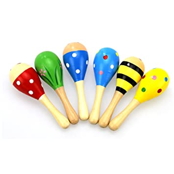 Hot Selling Baby Wooden Ball Baby Rattles Sand Hammer Musical Toy Instrument Sound Make Sports & Entertainment