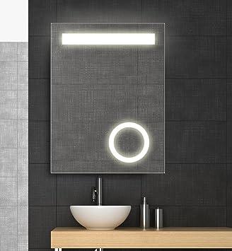 Spiegel mit LED Beleuchtung und Kosmetikspiegel, 60x80 cm ...