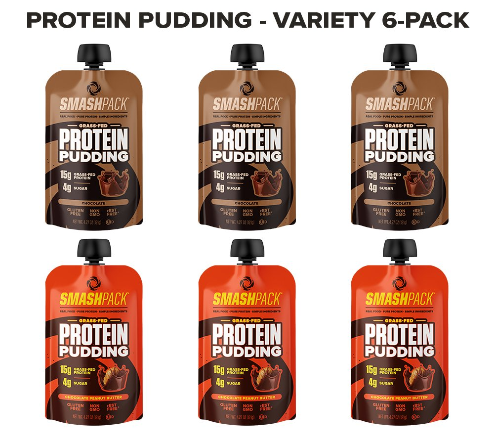 SmashPack Protein Pudding - Grass-Fed Protein Pudding Pouches - Low Sugar, Low Carb Snack - 15g Protein - 4g Sugar - 130 Calories - Gluten Free, Non-GMO & Keto Friendly