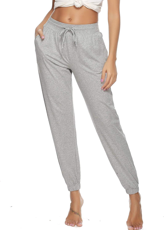 Vlazom Pantalon de Pyjama Femme Coton D/étente Bas de Pyjama Pantalon Jogging Femmes