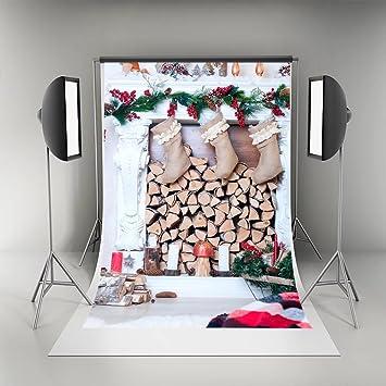 Chimenea de color blanco fondos para las Partes de calcetines de Navidad fotografía Navidad telón de fondo para niños: Amazon.es: Electrónica