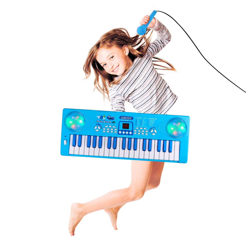 Shayson Piano para niños, tecla 37 Teclado electrónico multifunción Juego Piano Órgano con micrófono Juguete Educativo para niños pequeños Niños Niños ...