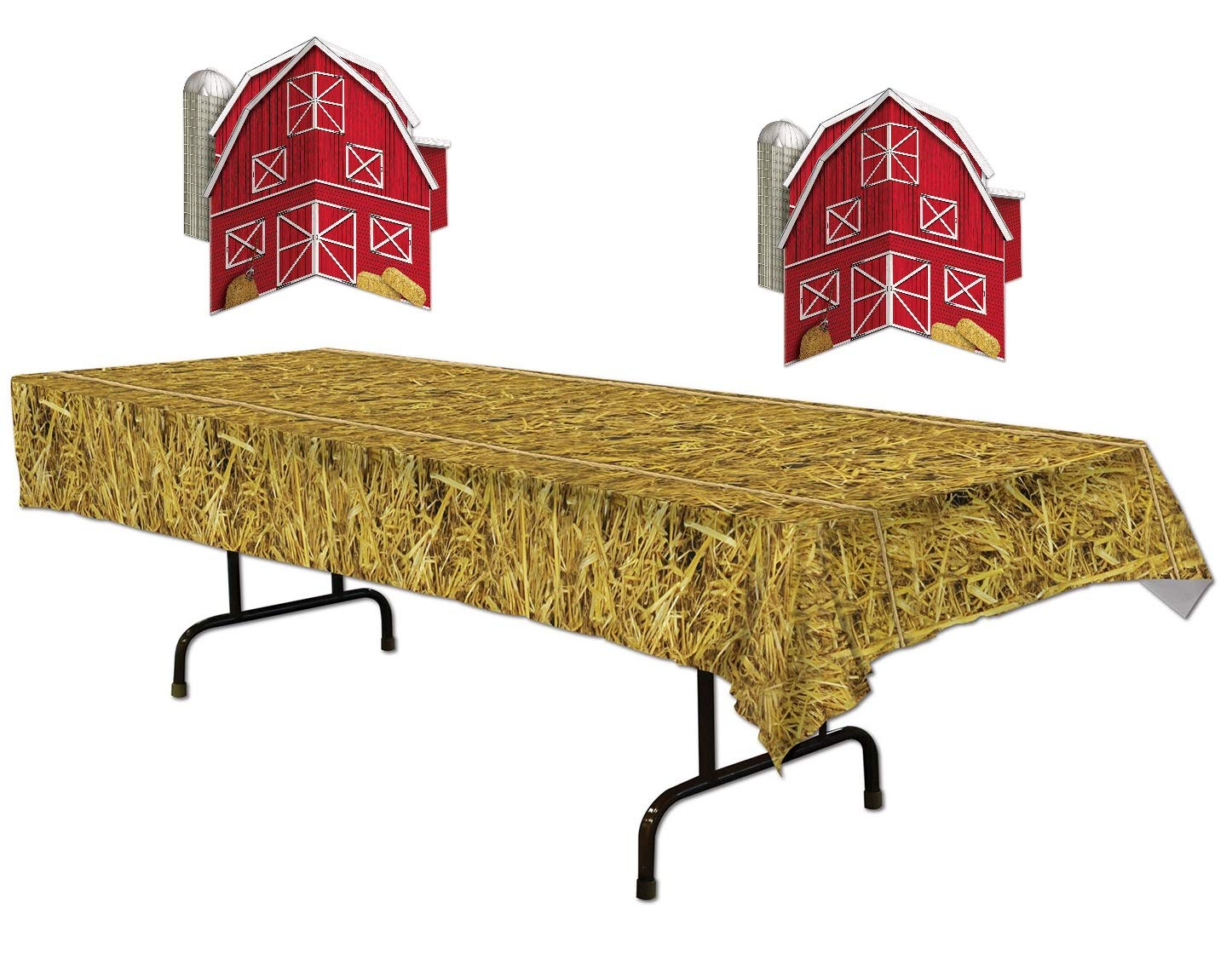 Farm Table Décor Bundle | Includes Straw Tablecover and Two 3-D Barn Centerpieces by The Beistle Manufacturing Company