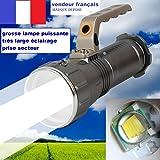 Grosse Lampe torche pour les balades nocturne, CREE LED 9001-T6.Ultra puissante d'une portée de plus de 500 m, 3 modes d'éclairages avec notice explicative, chargeur USB