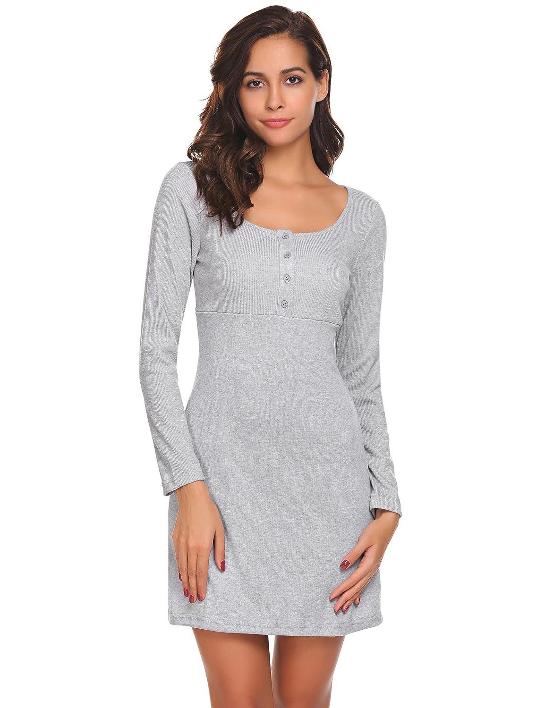 Damen Winter Herbst Etuikleid Langarm Rundhals Figurbetontes Kleid Strech Shirtkleid Freizeitkleid Basic Kleid mit Knopfleiste Kurz