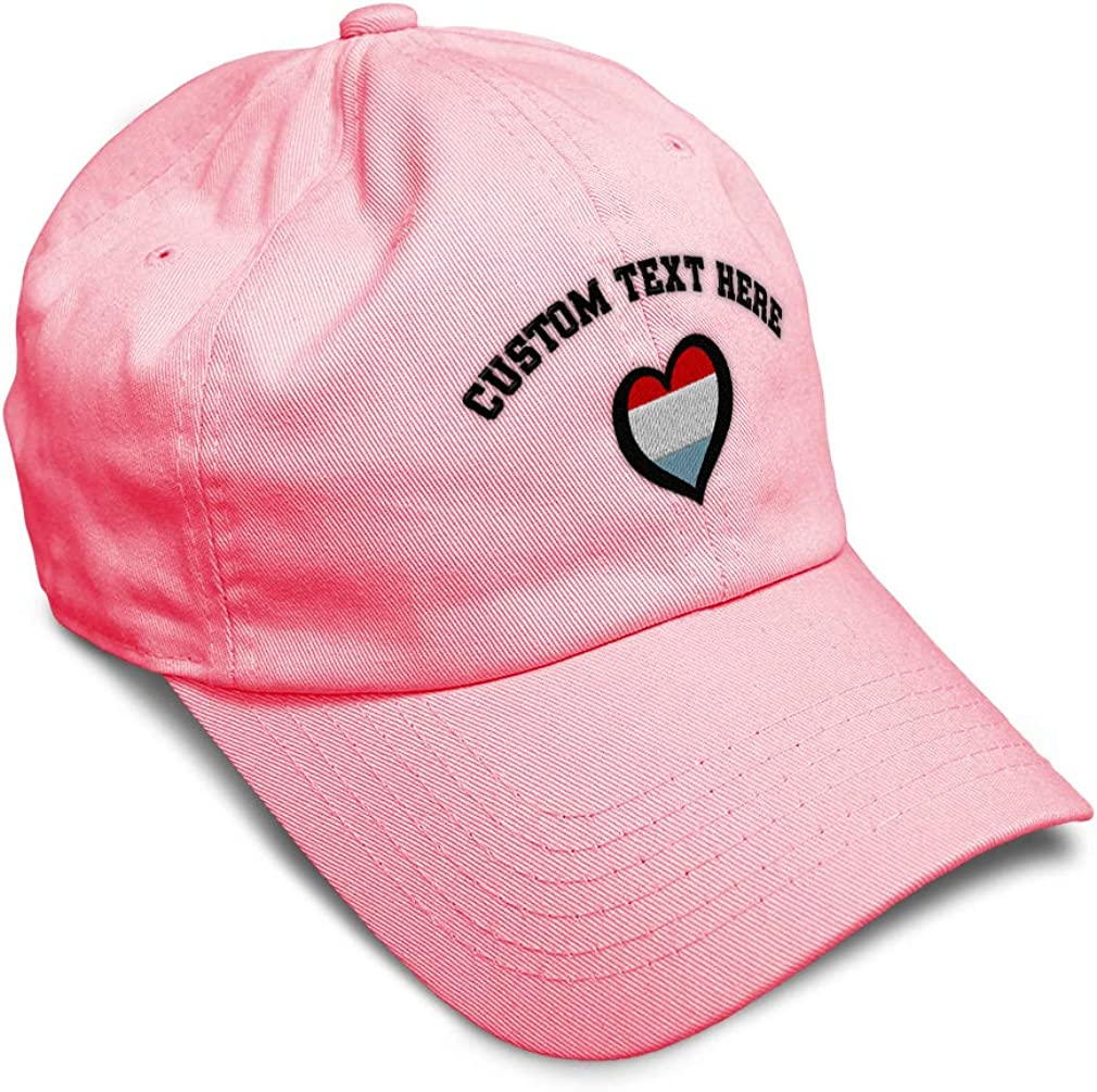 Custom Soft Baseball Cap Luxembourg Flag Heart-Shaped Embroidery Twill Cotton