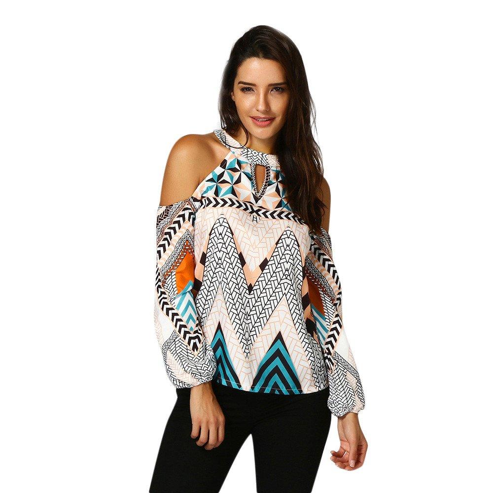 Bluse Damen Sunnyadrain Mode Damen Aus Der Schulter Retro Geometrie Bluse Böhmen Tops Bluse T Shirt Sunnyadrain Bluse