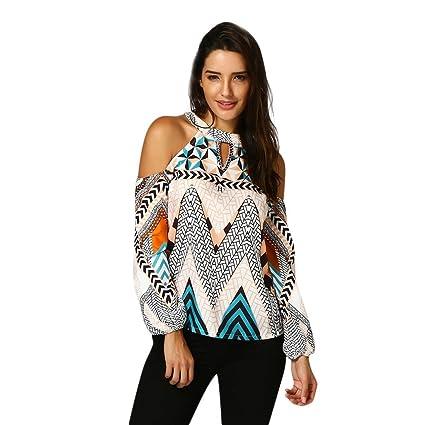 Women Shirts And Blouses,Hongxin Women Off Shoulder Retro Geometry Print Choker Neck Cold Shoulder