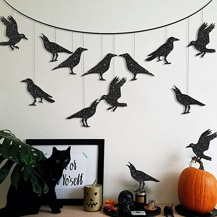 Glitter Black Crow Garland Kit for Halloween Party Decoration Flying Hanging Crow Banner for Halloween Tree Decor Bird Crow Themed Costume Bridal Shower Birthday Party Decoration
