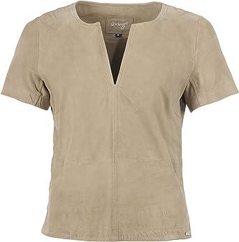 Maze Arona - Camisa de Piel para Mujer, Color marrón: Amazon.es: Ropa y accesorios