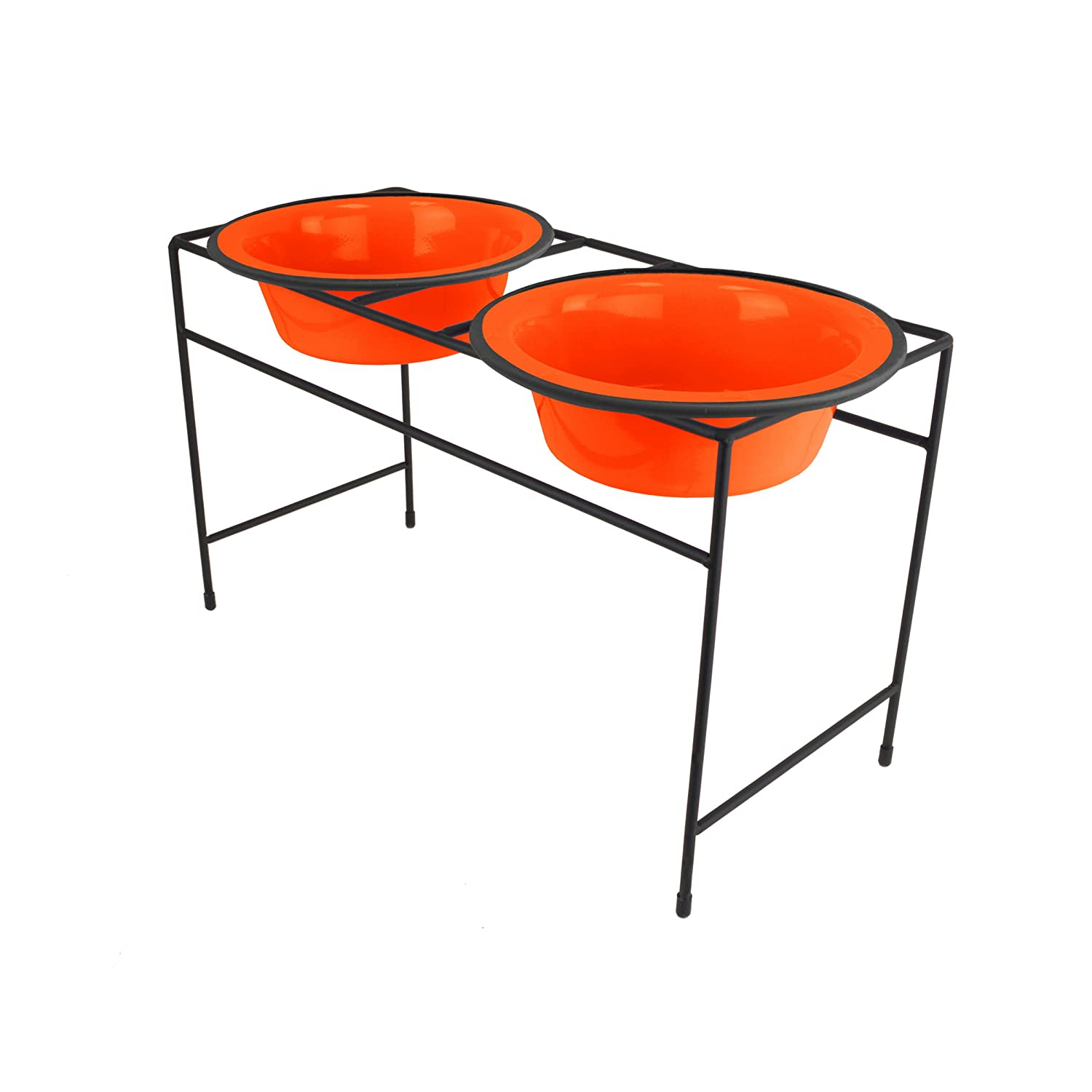 Hunter orange Medium Hunter orange Medium Platinum Pets 24787 Modern Double Diner Feeder, Medium