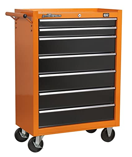 DJM dispone de 7 cajones naranja y negro cabina con ruedas armario con caja de herramientas