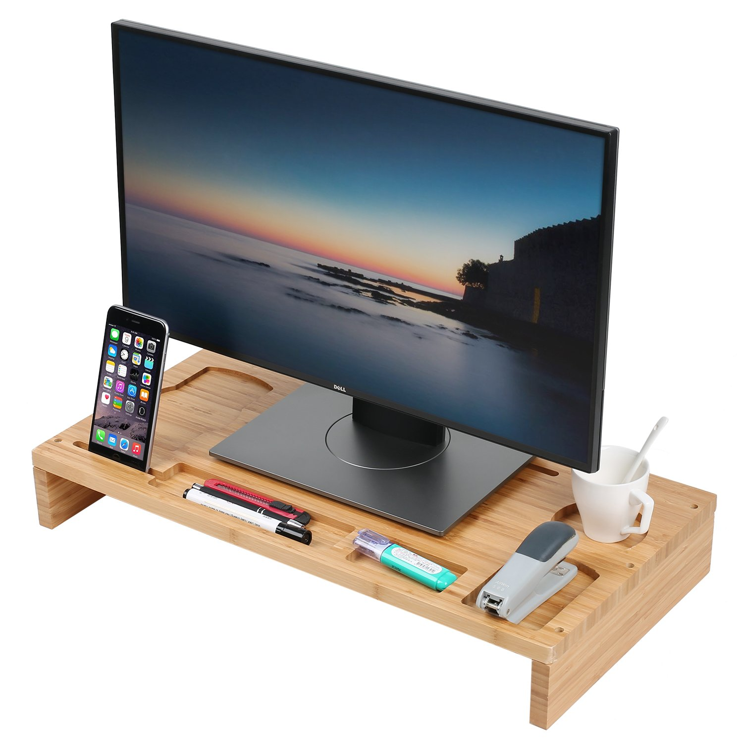 Bamboo Computer Monitor Stand Riser, Wooden Desk Organizer, Laptop Riser Shelves, Laptop Ipad Cellphone TV Printer Stand Holder with Slots for Office Supplies and Storage Space for Keyboard and Mouse TILEMALL