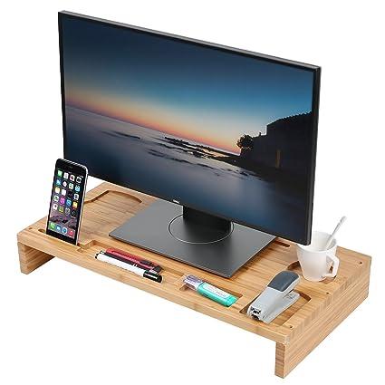 Soporte para monitor de ordenador de bambú, organizador de escritorio de madera, estantes para ordenador portátil, ...