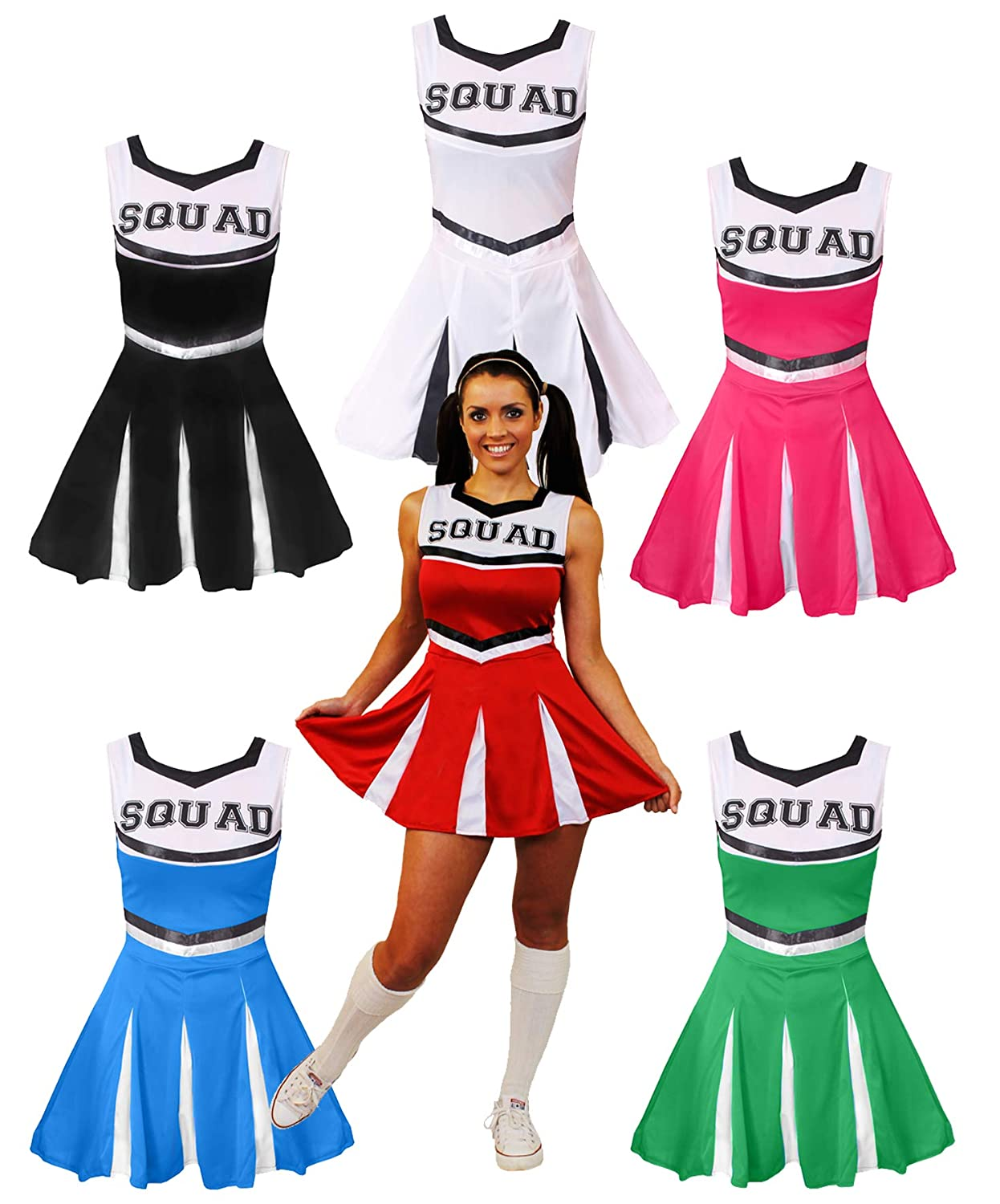 14a272b18946 Ladies Blue High School Cheerleader Fancy Dress Costume Womens Cheer  Captain American Cheer Leader Uniform Blue Xsmall Uk 4-6: Amazon.co.uk:  Toys & Games