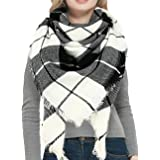 Warm Women Blanket Scarf Oversized Tassel Tartan Wrap Shawl Plaid Cozy Checked Pashmina