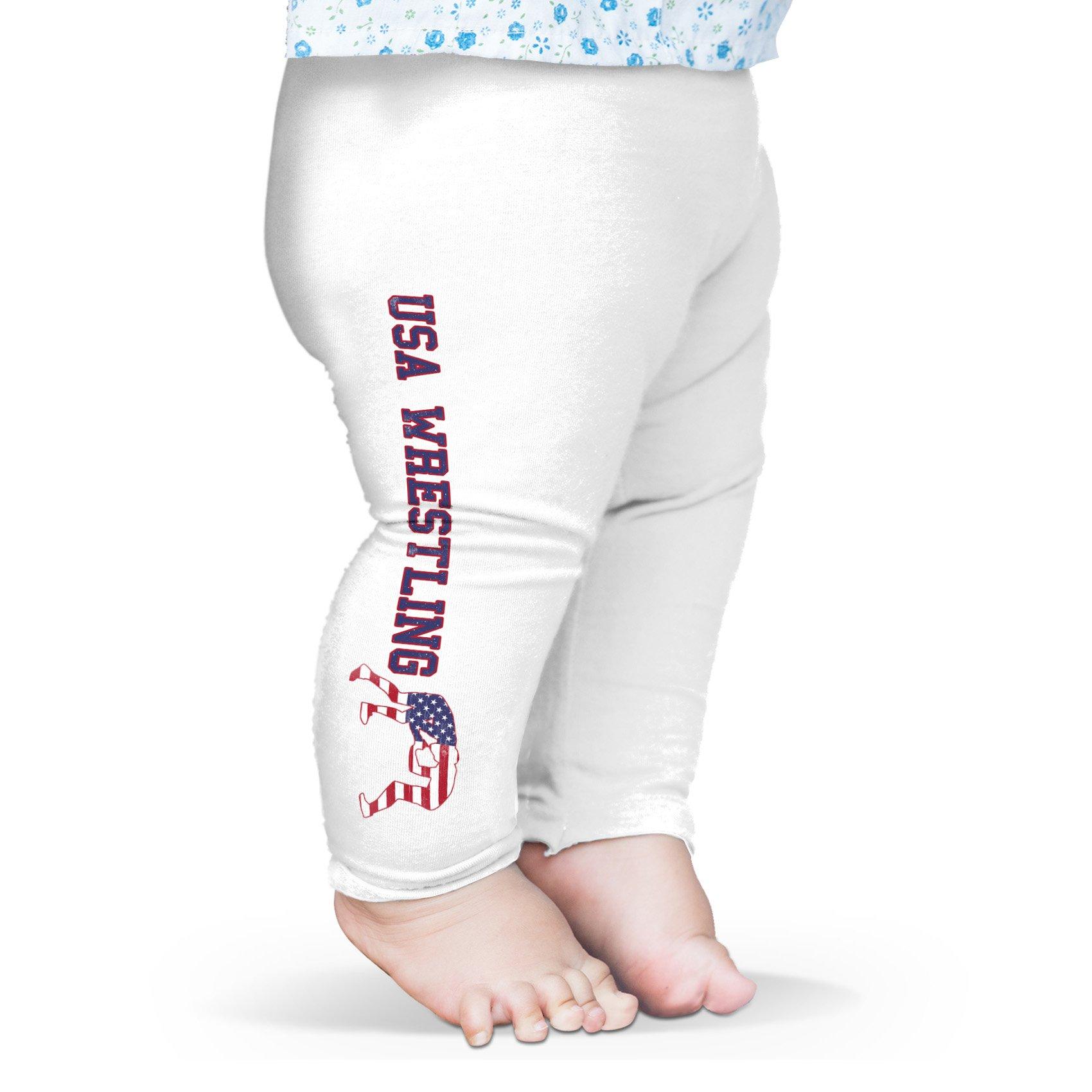 TWISTED ENVY Leggings for Women Sports USA Wrestling Baby Leggings Pants 12-18 Months White