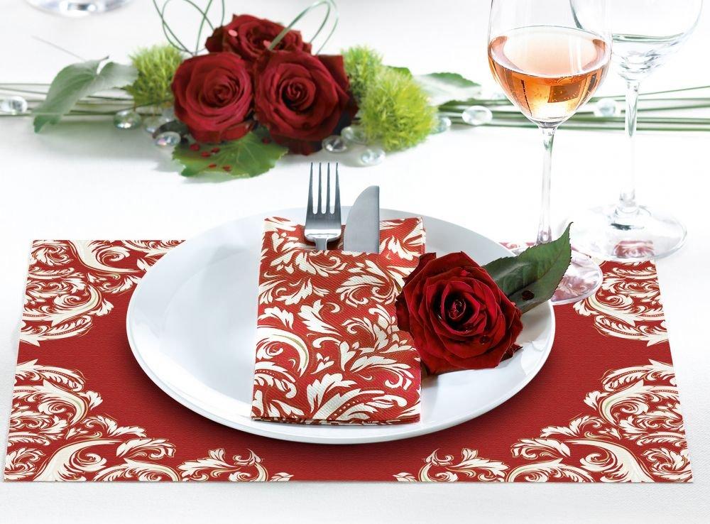 50 St/ück hochwertige Einweg-Servietten ideal f/ür Hochzeit /& Feiern saugstarke Airlaid-Servietten 40x40 cm Rot Sovie HORECA Serviette Cascade