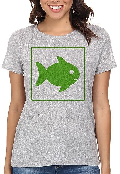 Pescado Verde Ecológico Camiseta Para Mujer Gris Todos Los Tamaños | Womens T-Shirt Grey
