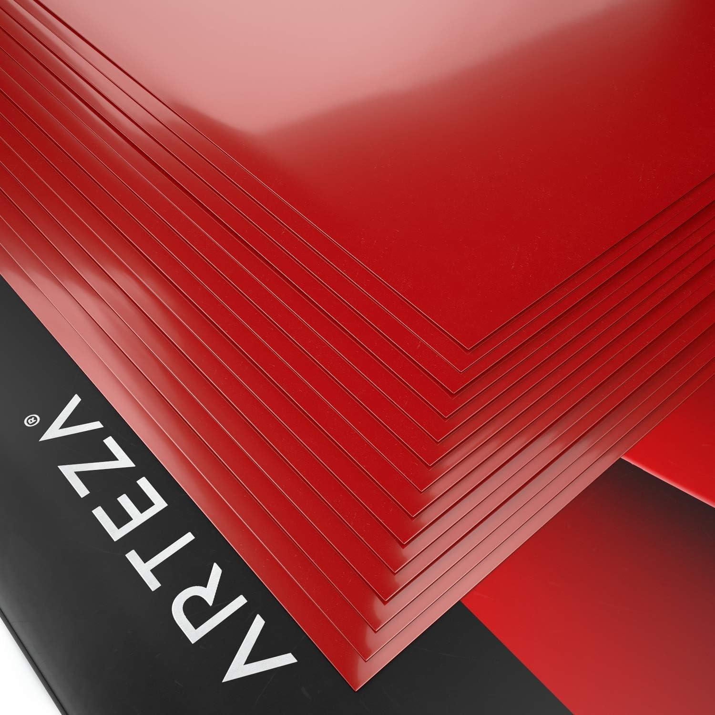 Arteza Set Vinile Termoadesivo per Tessuti 14 Fogli HTV Flessibili Colore Rosso da 25,4x30,5 cm Sicuro e Atossico in Scatola Robusto e Facile da Usare Per Ogni Macchina da Taglio Artigianale