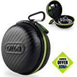 Gizga Essentials Earphone Case - Multi Purpose Pocket Storage Travel Organizer Case for Earphone, Pen Drives, Memory Card, Data Cable - Carbon Fibre (Black/Green)
