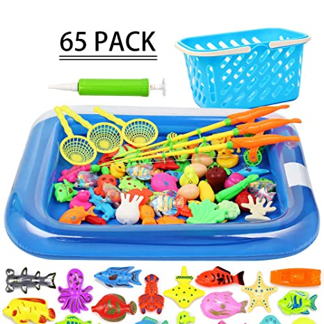 ABS COCO Kids Magnetic Fishing Pole Puzzle Children's Toys, Baby 67  Floating Fishing Game Set, Suitable for Indoor, Outdoor, Swimming Pool,  Bathtub,