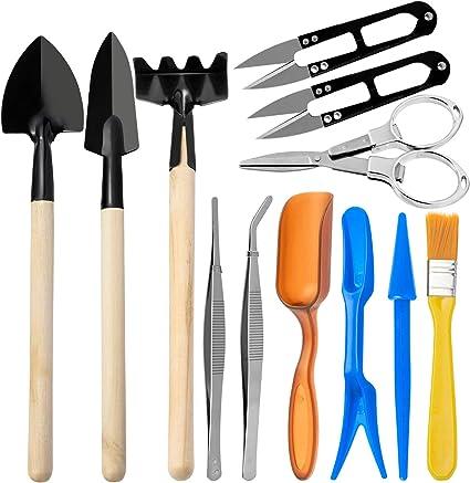 Amazon Com Avide Bonsai Tools Set 12 Pieces Basic Bonsai Tools Kit Includes Pruning Shears Fold Scissors Mini Rake Tweezer And More Succulent Transplanting Garden Hand Tools Set Garden Outdoor