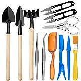 AVIDE 12 Pieces Bonsai Tools Kit, Succulent Plants Tools, Mini Garden Hand Tools Set Transplanting Tools Miniature Planting G