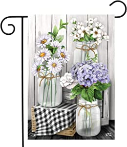 Briarwood Lane Checkered Mason Jars Spring Garden Flag Daisies Floral 12.5