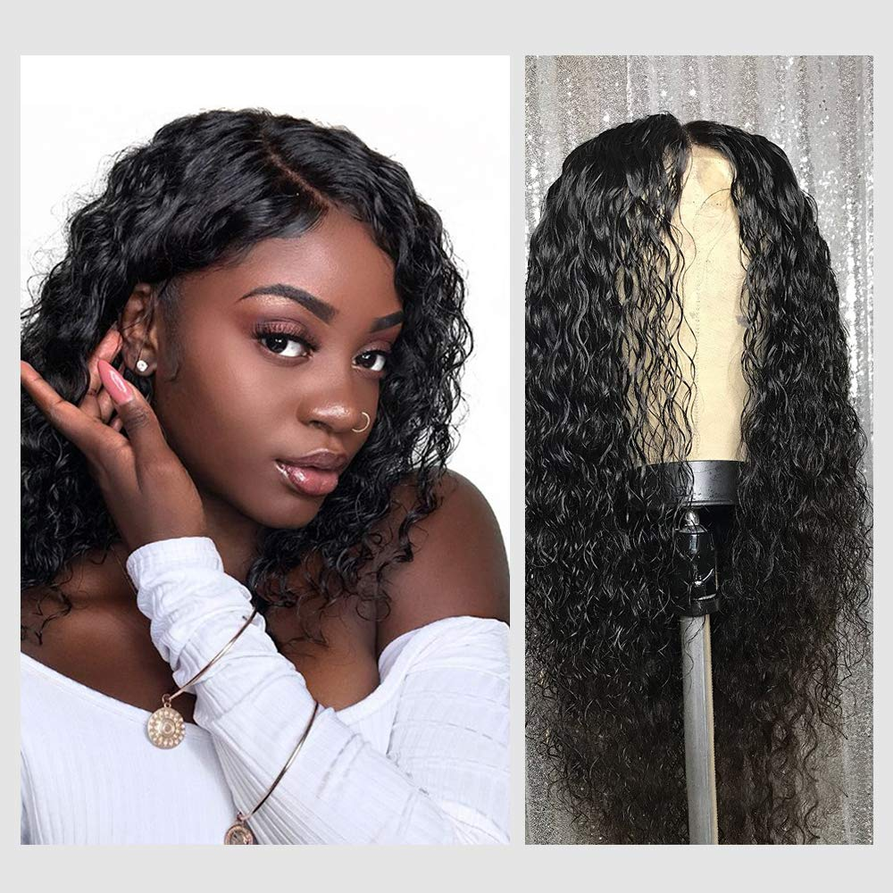 Deep Curly Human Hair Wigs, VIPbeauty Brazilian Deep Wave Human Hair Lace Front Wigs for Black Women 130% Density Glueless Lace Frontal Wig with Pre Plucked Baby Hair(12 Inch, Nature Color) by VIPbeauty