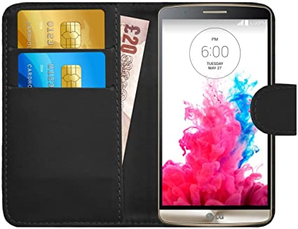 G-Shield Funda para LG G3, Carcasa de Cuero con Ranuras para Tarjetas, Negro
