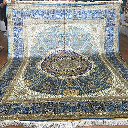 Amazon Com Yuchen 8x10 Blue Hand Knotted Silk Carpets And