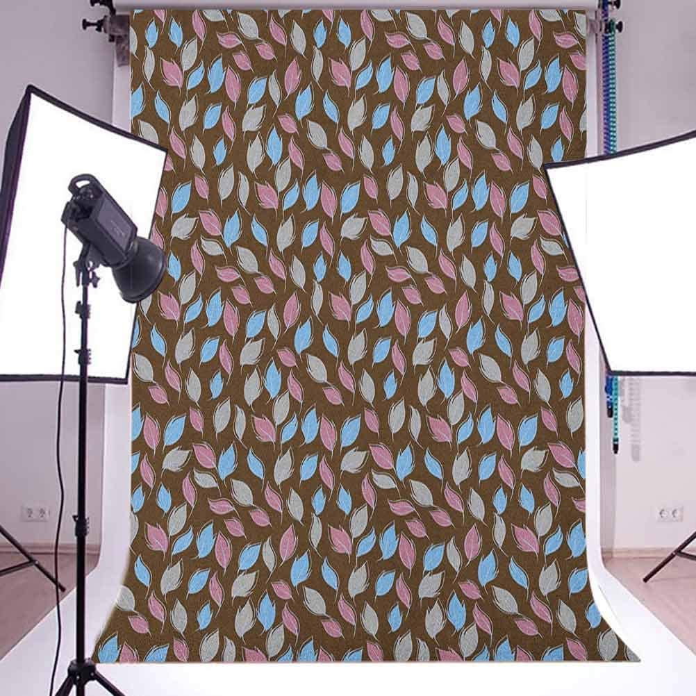 8x12 FT Leaves Vinyl Photography Backdrop,Foliage Pattern with Dark Toned Backdrop Doodle Style Composition of Nature Image Background for Photo Backdrop Baby Newborn Photo Studio Props
