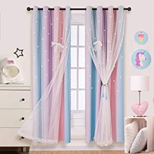 Hughapy Star Curtains for Girls Bedroom Kids Room Decor Light Blocking Voile Overlay Princess Star Hollowed Curtain Colorful Striped Layered Window Curtain, 1 Panel (52W x 63L, Pink / Purple)