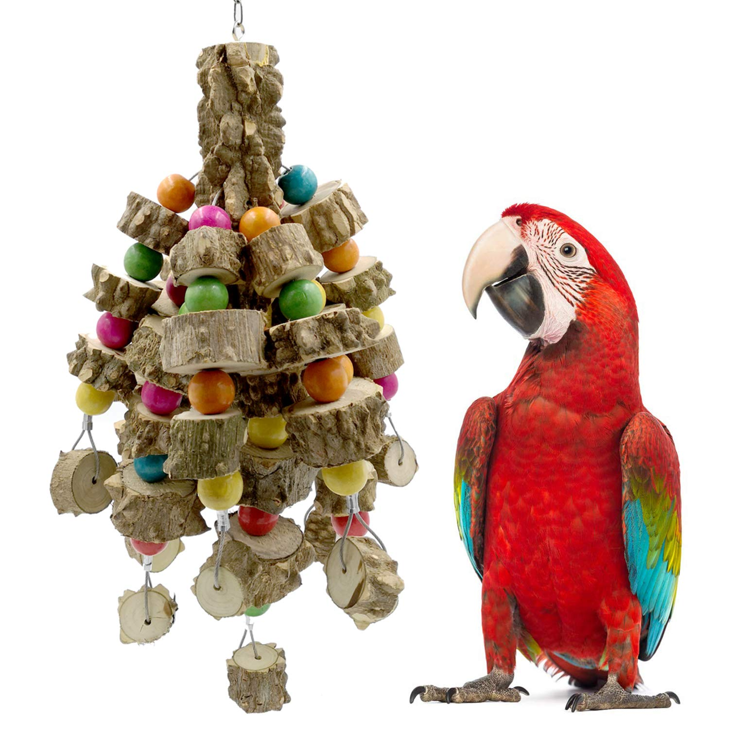Onene Natural Wood Medium Parrot Toy, Bird Block Tearing Chewing Toy, Great for Small to Medium Parrots and Birds Like Budgies, Pacific, Lovebird, Parakeet, Cockatiel and Sun Conure by Onene
