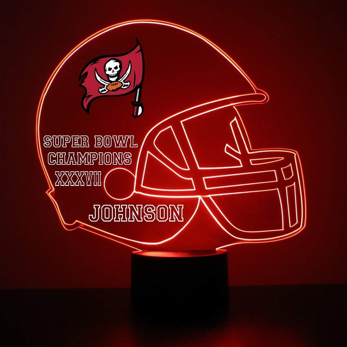 finest selection a37ac cb422 Mirror Magic Store Tampa Bay Buccaneers Football Helmet LED Night Light  with Free Personalization - Night Lamp - Table Lamp - Featuring Licensed  Decal