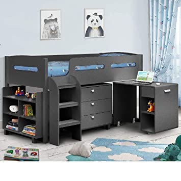 newest 5583d 13e18 Kids Mid Sleeper Bed, Happy Beds Kimbo Anthracite Grey Wood Contemporary  Desk Drawers Shelf Storage Bed Cabin Bed Frame - 3ft Single (90 x 190 cm)  ...