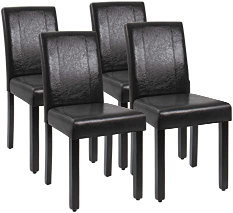 Amazon Com Jummico Dining Chair Pu Leather Living Room Chairs Modern Kitchen Armless Side Chair With Solid Wood Legs Set Of 4 Black Chairs