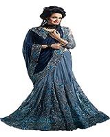 Sunshine Fashion Women's Georgette Saree With Blouse Piece (Sunsa2215-Fb,Blue,Free Size)