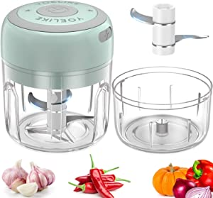 Electric Mini Garlic Chopper, Yoelike Portable Cordless Vegetable Food Processor, Handheld USB Rechargeable Powerful Mincer for Onion, Ginger, Chili and Pumpkin(Green, 250ml+100ml)