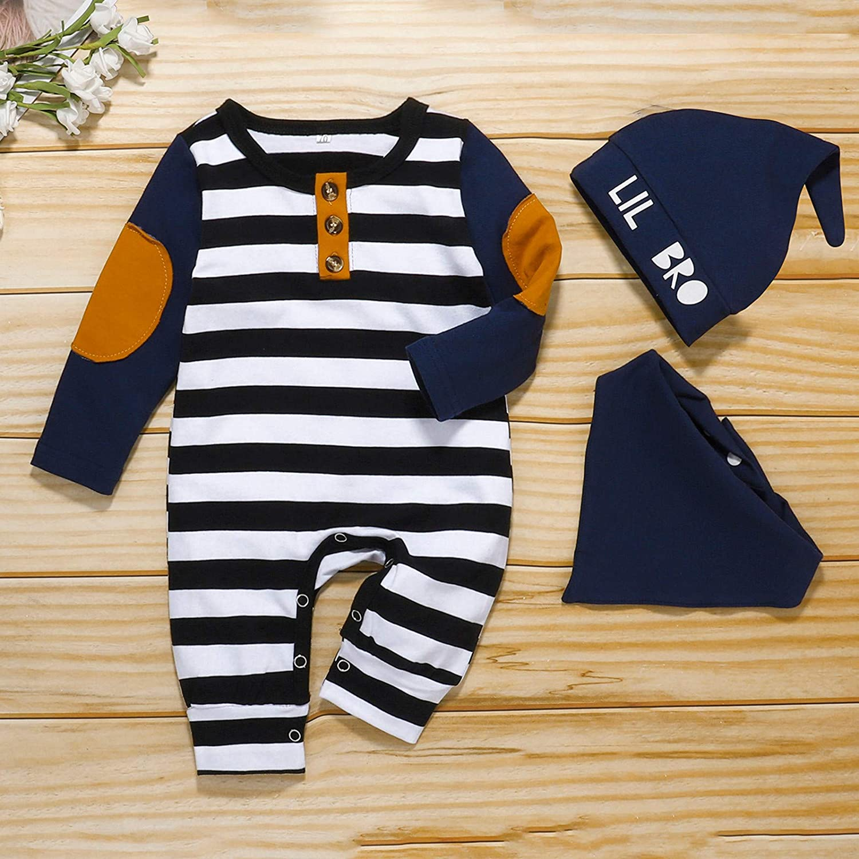 0-12 Months Newborn Infant Baby Boys Girls Patch Striped Button Jumpsuit Romper+Hat+Bib Set Baby Boys Outfit Set