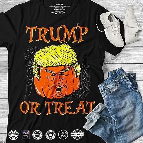 e1f27be0c Amazon.com: Trump or Treat Funny Meme Halloween Trumpkin Trick or Treating Make  Halloween Great Again Handmade T-Shirt Long Sleeve Hoodie Tank Top ...